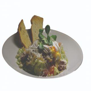 Listový šalát s bravčovou panenkou, poširovaným vajíčkom a bagetkou – 250g – 7,30 €
